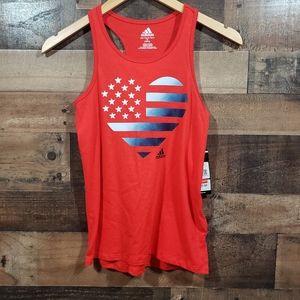 Adidas girls racerback american flag heart tank to